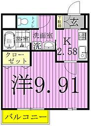 エクシード北松戸[302号室]の間取り