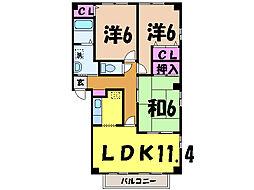 愛媛県松山市衣山2丁目の賃貸アパートの間取り