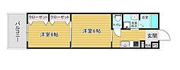 リファレンス箱崎 12階2Kの間取り