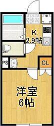 千葉県柏市東中新宿2丁目の賃貸アパートの間取り