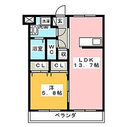 ラポージュ[1階]の間取り