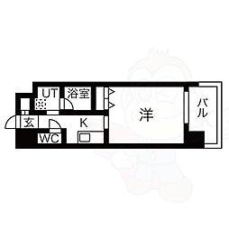 名古屋市営東山線 八田駅 徒歩1分の賃貸マンション 5階1Kの間取り