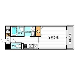 JR大阪環状線 京橋駅 徒歩6分の賃貸マンション 6階1Kの間取り