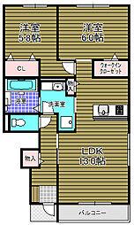 (仮)富田林小金台D-room 1階2LDKの間取り