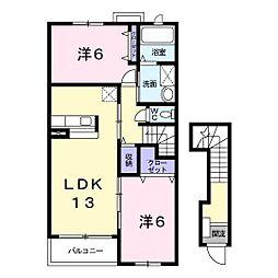 南海線 樽井駅 徒歩17分の賃貸アパート 2階2LDKの間取り