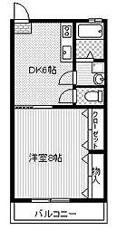 プチキャリコI棟 1階1DKの間取り