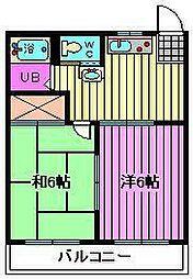 埼玉県上尾市瓦葺の賃貸アパートの間取り