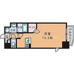 Osaka Metro堺筋線 南森町駅 徒歩7分の賃貸マンション 11階ワンルームの間取り