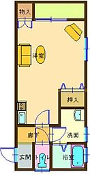 JR日豊本線 国分駅 徒歩32分の賃貸アパート 2階1Kの間取り