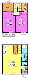 [テラスハウス] 東京都東村山市美住町2丁目 の賃貸【/】の間取り