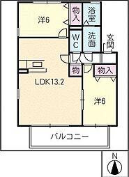 リブェールコートA棟[2階]の間取り
