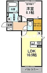 JR宇野線 備前西市駅 徒歩3分の賃貸アパート 2階1LDKの間取り