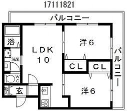 月岡ビル[5階]の間取り