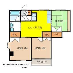 エクセルハウス一番館[3階]の間取り