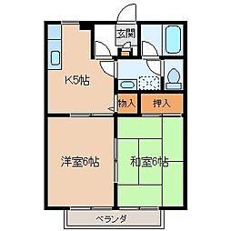 長野県茅野市金沢の賃貸アパートの間取り
