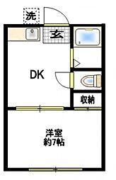 加賀ハイツC棟[1階]の間取り