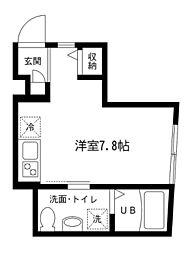 MプラスOIMACHI 1階ワンルームの間取り