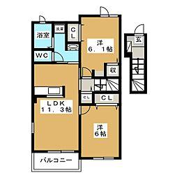 クラニアII号館[2階]の間取り