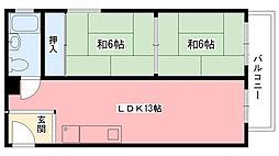 エルベコート甲陽園[2階]の間取り