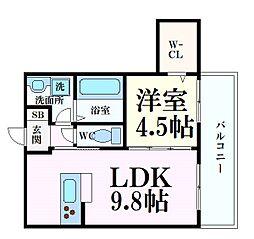 阪急神戸本線 六甲駅 徒歩8分の賃貸アパート 1階1LDKの間取り