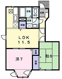 チェリ−吉田[1階]の間取り