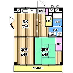 東京都福生市志茂の賃貸マンションの間取り