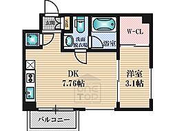 レギャン002 2階1DKの間取り