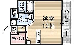 大阪モノレール彩都線 彩都西駅 徒歩12分の賃貸マンション 2階ワンルームの間取り