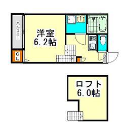 名古屋市営東山線 高畑駅 徒歩7分の賃貸アパート 1階1SKの間取り
