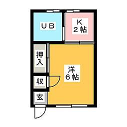 コーポJUNII[1階]の間取り