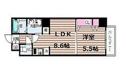 CIFI大阪天満 2階1LDKの間取り