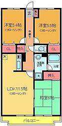 第七竹石マンション[203号室]の間取り