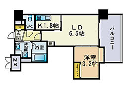 リアンシエルブルー薬院[4階]の間取り