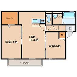 奈良県磯城郡田原本町十六面の賃貸アパートの間取り