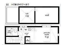 東京都新宿区改代町の賃貸アパートの間取り