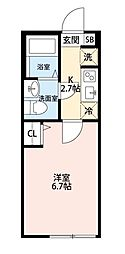西武拝島線 東大和市駅 徒歩10分の賃貸アパート 2階1Kの間取り