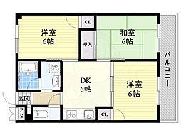 みやびマンション 3階3DKの間取り