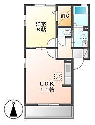 クレール藤江B[1階]の間取り