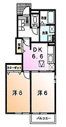 東京都町田市図師町の賃貸アパートの間取り