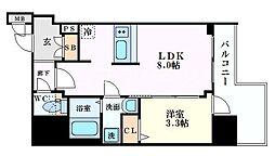 Osaka Metro堺筋線 北浜駅 徒歩5分の賃貸マンション 7階1LDKの間取り