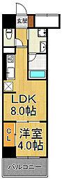 フラクタス尾浜 4階1LDKの間取り