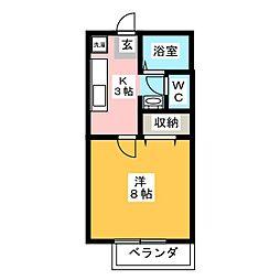 ビーライン桔梗[2階]の間取り