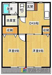 東郷ハイツ 2階2DKの間取り