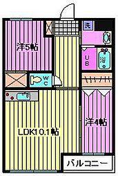 埼玉県さいたま市西区清河寺の賃貸マンションの間取り