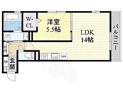 南海線 北助松駅 徒歩5分の賃貸アパート 2階1LDKの間取り