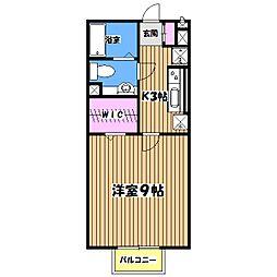 東京都八王子市館町の賃貸アパートの間取り