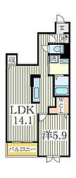 アンソレイエ天王台II[1階]の間取り