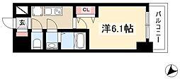 アステリ鶴舞エーナ 13階1Kの間取り