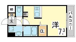 JR東海道・山陽本線 新長田駅 徒歩3分の賃貸マンション 8階ワンルームの間取り