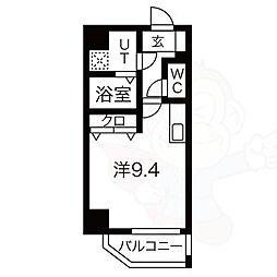 レジデンシア泉2 2階ワンルームの間取り